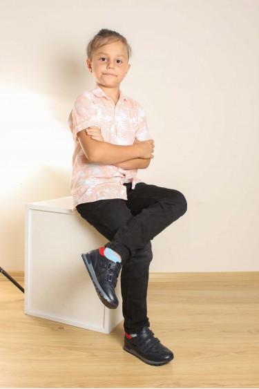 Hakiki Deri Lacivert Kırmızı Erkek Çocuk Casual Ayakkabı 006FA900