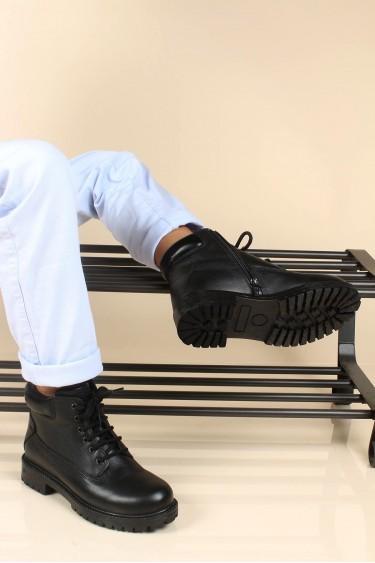 Hakiki Deri Siyah Unisex Çocuk Worker Bot 006SFA1002