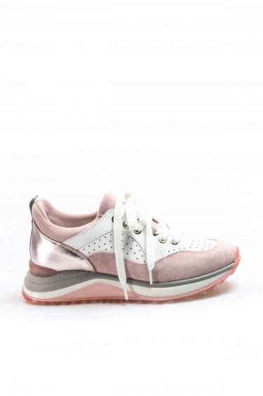 Hakiki Deri Pudra Krem Kadın Sneaker Ayakkabı 009ZA980