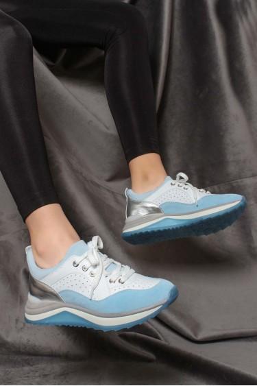 Hakiki Deri Mavi Beyaz Kadın Sneaker Ayakkabı 009ZA980