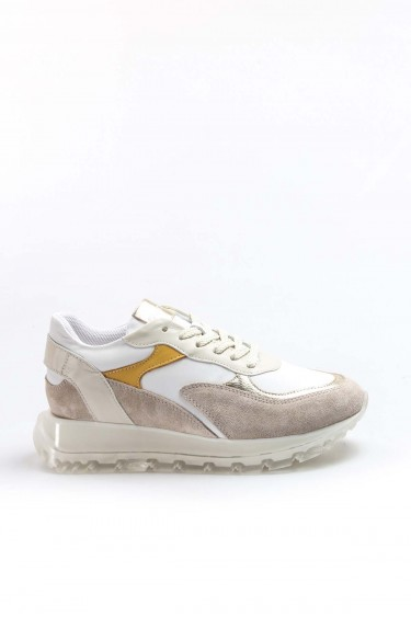 Hakiki Deri Bej Beyaz Sarı Kadın Sneaker Ayakkabı 009ZA1009