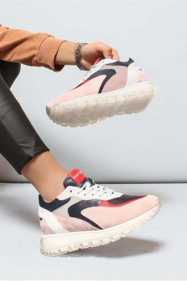 Hakiki Deri Pembe Lacivert Kadın Sneaker Ayakkabı 009ZA1009