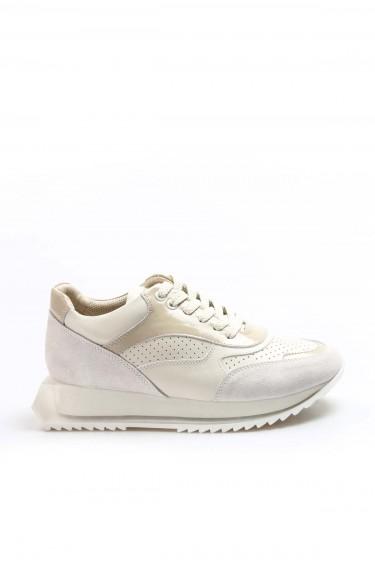 Hakiki Deri Krem Bej Kadın Sneaker Ayakkabı 009ZA1014