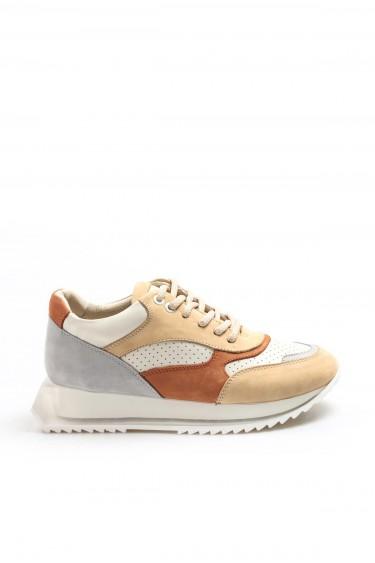 Hakiki Deri Bej Oranj Buz Kadın Sneaker Ayakkabı 009ZA1014