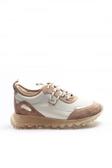 Hakiki Deri Kum Bej Kadın Sneaker Ayakkabı 009ZA1027