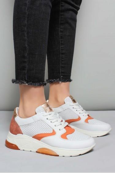 Hakiki Deri Beyaz Oranj Kadın Sneaker Ayakkabı 009ZA894
