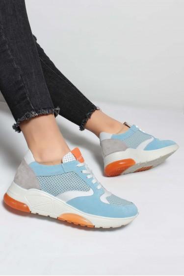 Hakiki Deri Mavi Beyaz Oranj Kadın Sneaker Ayakkabı 009ZA894