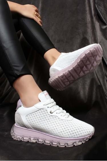 Hakiki Deri Beyaz Lila Kadın Sneaker Ayakkabı 009ZA950