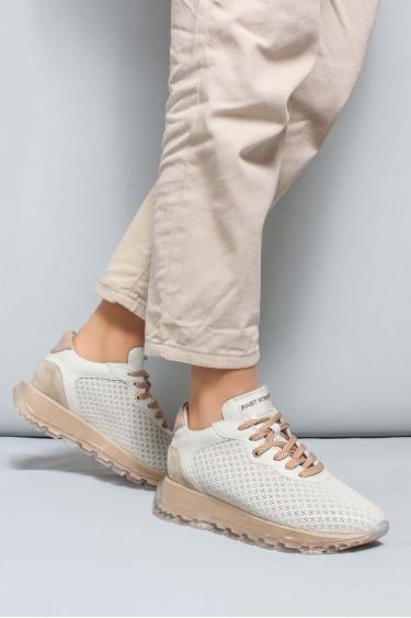 Hakiki Deri Krem Bej Kadın Sneaker Ayakkabı 009ZA950