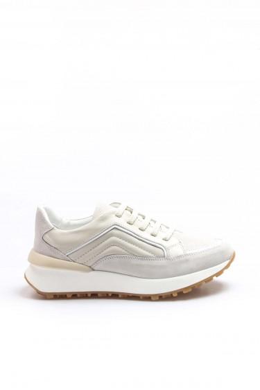 Hakiki Deri Krem Beyaz Kadın Sneaker Ayakkabı 009ZA917