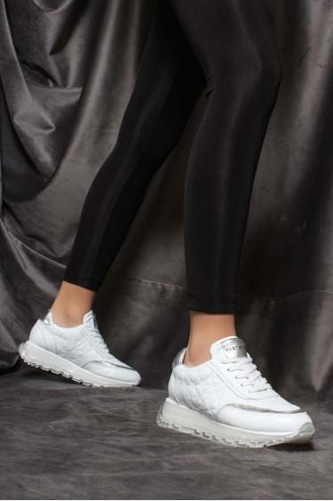 Hakiki Deri Beyaz Kadın Sneaker Ayakkabı 009ZA951