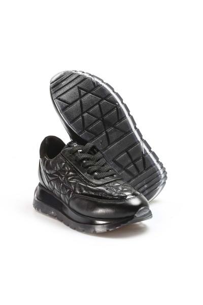 Hakiki Deri Siyah Kadın Sneaker Ayakkabı 009ZA951