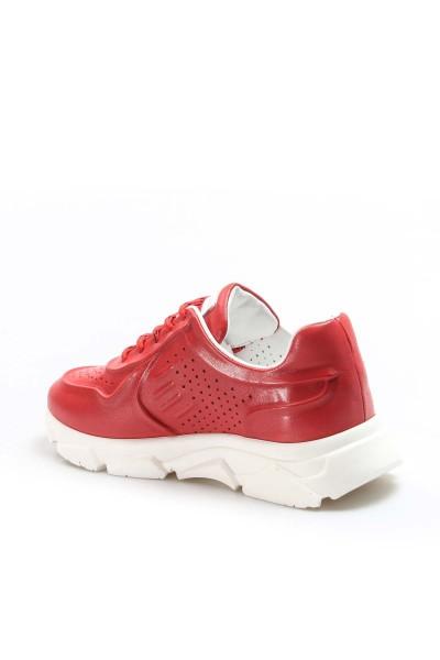 Hakiki Deri Kırmızı Kadın Serisonu Ayakkabı 009ZA977