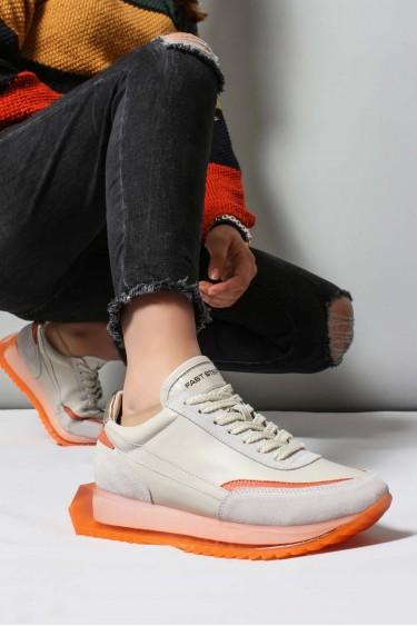 Hakiki Deri Krem Oranj Kadın Sneaker Ayakkabı 009ZA998