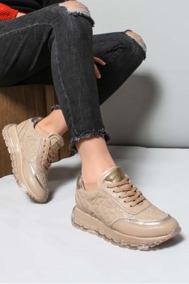 Hakiki Deri Bej Kadın Sneaker Ayakkabı 009ZA951
