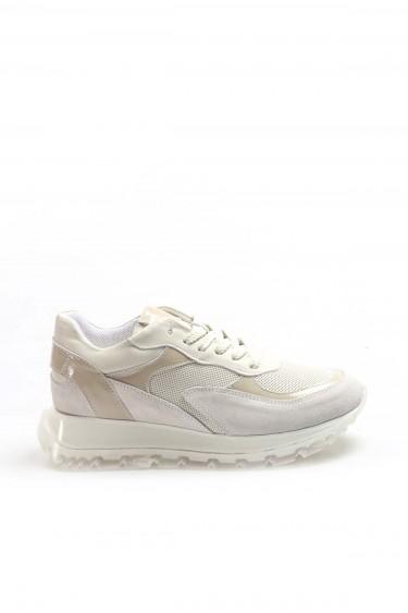 Hakiki Deri Krem Nubuk Bej Rugan Kadın Sneaker Ayakkabı 009ZA1042