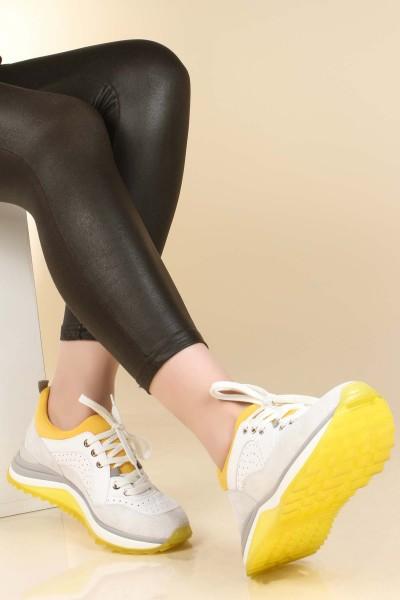 Hakiki Deri Sarı Gri Kadın Sneaker Ayakkabı 009ZA653
