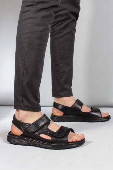 Hakiki Deri Siyah Orlondo Erkek Klasik Sandalet 018MAG-208-71