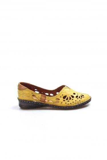 Hakiki Deri Sarı Kadın Babet Ayakkabı 046ZA06