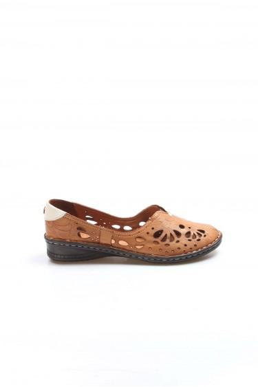 Hakiki Deri Taba Kadın Babet Ayakkabı 046ZA06