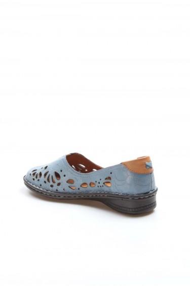 Hakiki Deri Kot Mavi Kadın Babet Ayakkabı 046ZA06