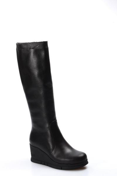 Hakiki Deri Kürklü Siyah Kadın Dolgu Topuk Çizme 064KZA1006