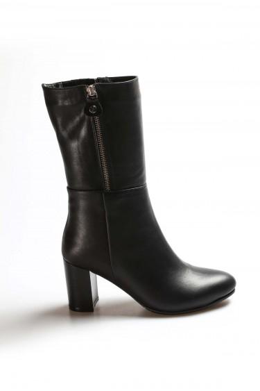 Hakiki Deri Kürklü Siyah Kadın Yüksek Topuk Çizme 064KZA531