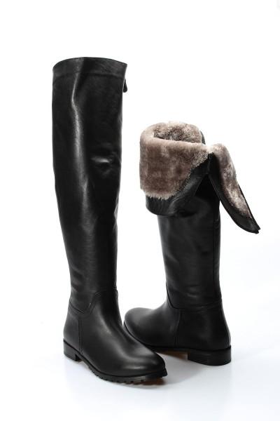 Hakiki Deri Siyah Kadın Klasik Çizme 064SZA1556