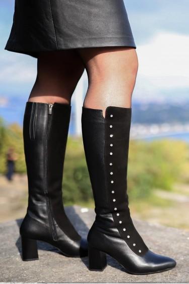 Hakiki Deri Siyah Kadın Yüksek Topuk Çizme 064SZA542