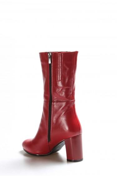 Hakiki Deri Kırmızı Kadın Yüksek Topuk Çizme 064SZA531
