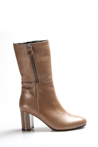Hakiki Deri Vizon Kadın Yüksek Topuk Çizme 064SZA531