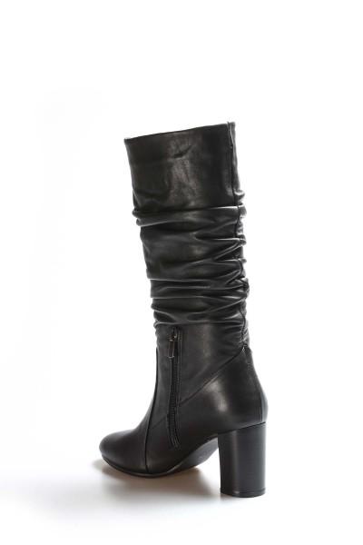 Hakiki Deri Siyah Kadın Yüksek Topuk Çizme 064SZA602
