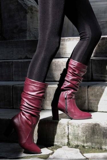 Hakiki Deri Bordo Kadın Yüksek Topuk Çizme 064SZA602