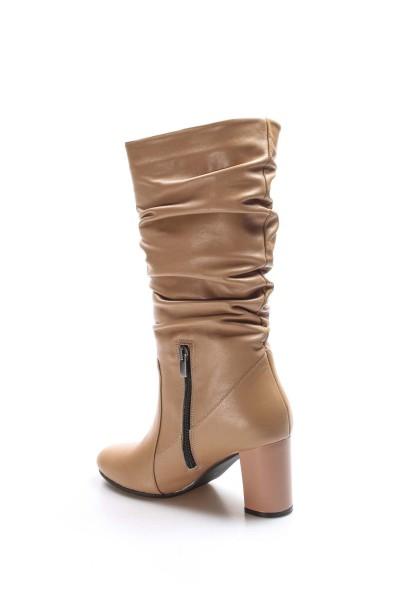 Hakiki Deri Vizon Kadın Yüksek Topuk Çizme 064SZA602