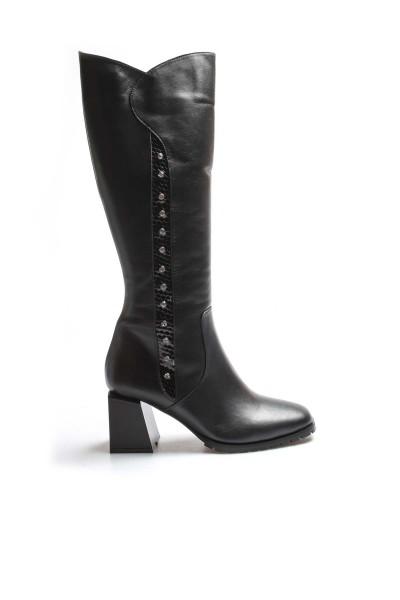 Hakiki Deri Siyah Kroko Kadın Yüksek Topuk Çizme 064SZA639