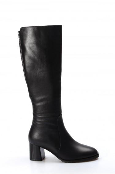 Hakiki Deri Kürklü Siyah Kadın Yüksek Topuk Çizme 064YZA513
