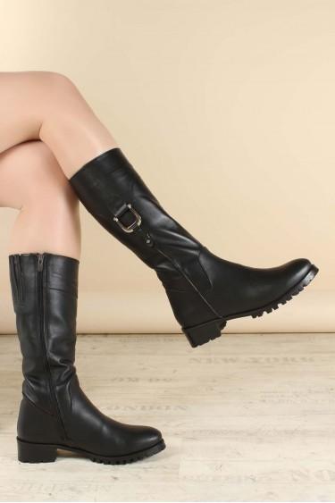 Hakiki Deri Kürklü Siyah Kadın Klasik Çizme 064YZA1015