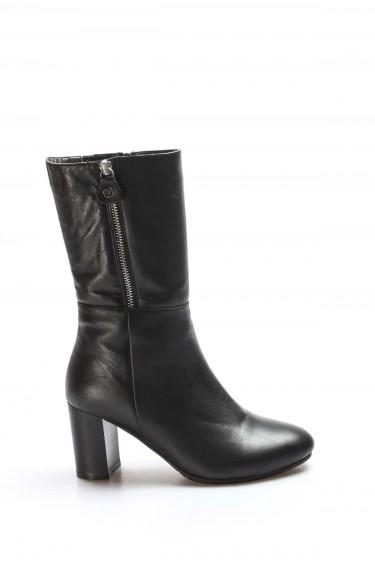 Hakiki Deri Kürklü Siyah Kadın Yüksek Topuk Çizme 064YZA531