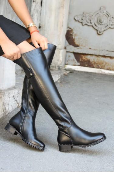 Hakiki Deri Siyah Kadın Diz Üstü Çizme 064YZA621