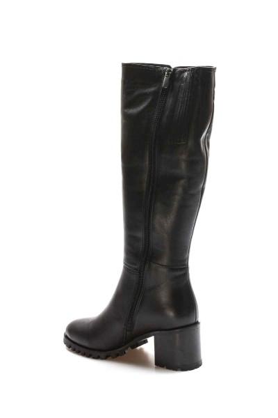 Hakiki Deri Kürklü Siyah Kadın Klasik Çizme 064YZA611