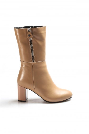 Hakiki Deri Kürklü Vizon Kadın Yüksek Topuk Çizme 064YZA531