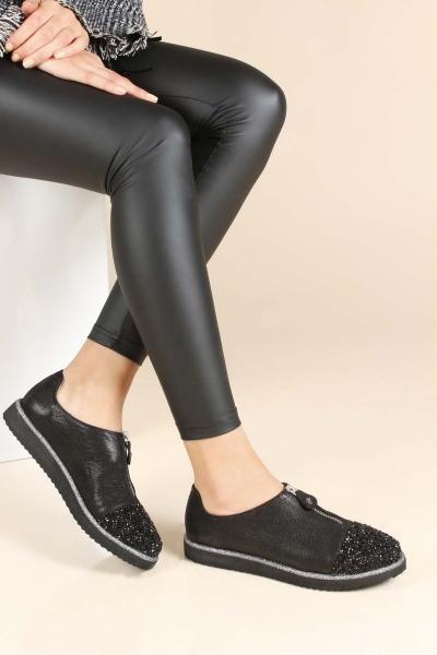 Hakiki Deri Siyah Saten Kadın Serisonu Ayakkabı 064ZA0528