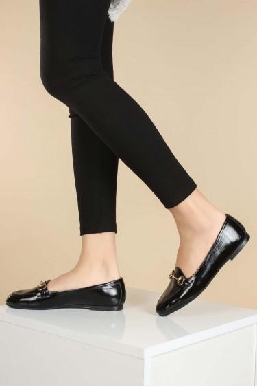 Hakiki Deri Siyah Kırışık Kadın Babet Ayakkabı 064ZA3003