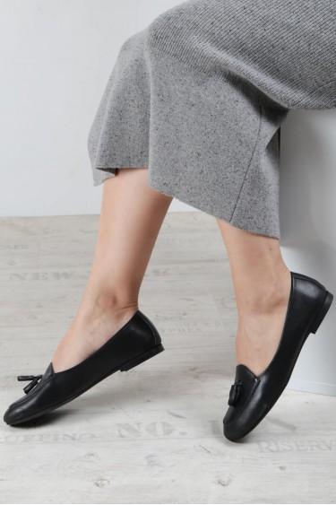 Hakiki Deri Siyah Kadın Babet Ayakkabı 064ZA3004