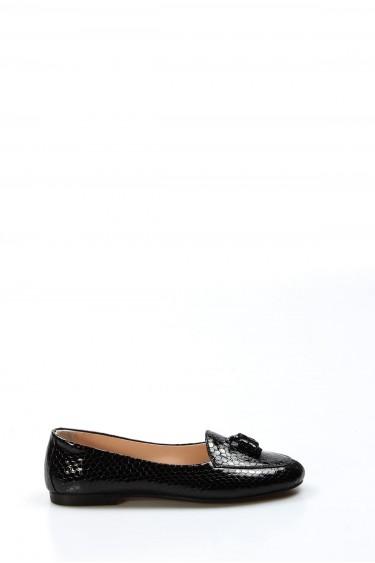 Hakiki Deri Siyah Kroko Kadın Babet Ayakkabı 064ZA3004