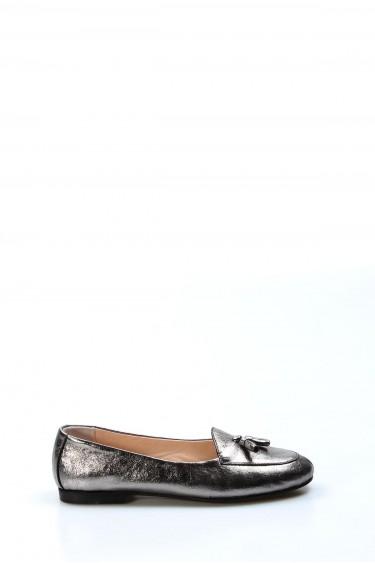 Hakiki Deri Platin Kadın Babet Ayakkabı 064ZA3004