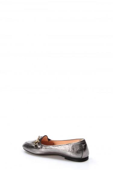 Hakiki Deri Çelik Kristal Kadın Babet Ayakkabı 064ZA3003