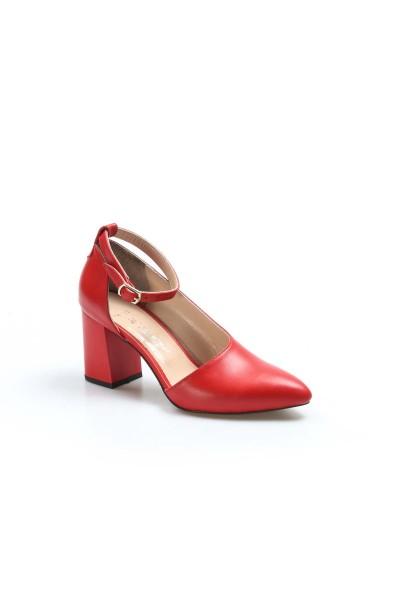 Hakiki Deri Kırmızı Kadın Kalın Topuklu Ayakkabı 064ZA788