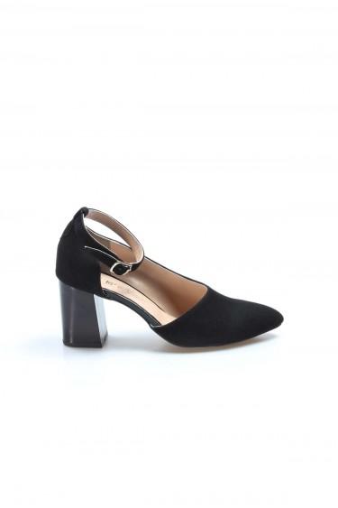 Hakiki Deri Siyah Süet Kadın Kalın Topuklu Ayakkabı 064ZA788