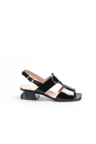 Hakiki Deri Siyah Rugan Kadın Serisonu Ayakkabı 064ZA731
